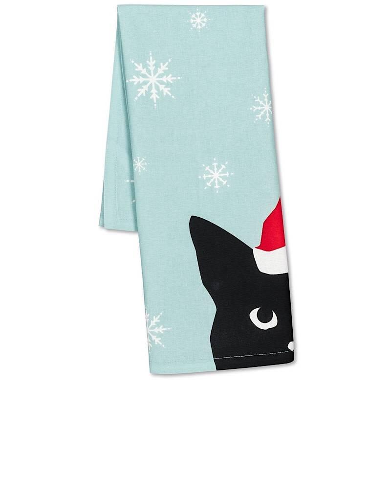 56-KT-ABX-13 Cat in Santa Hat Tea Towel - A Monkey Tree Emporium