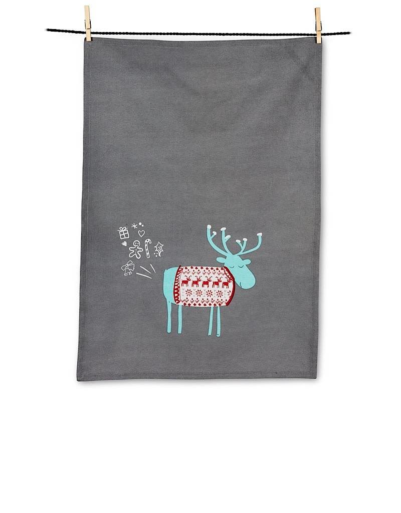 56-KT-WTX-14 Farty Moose Tea Towel
