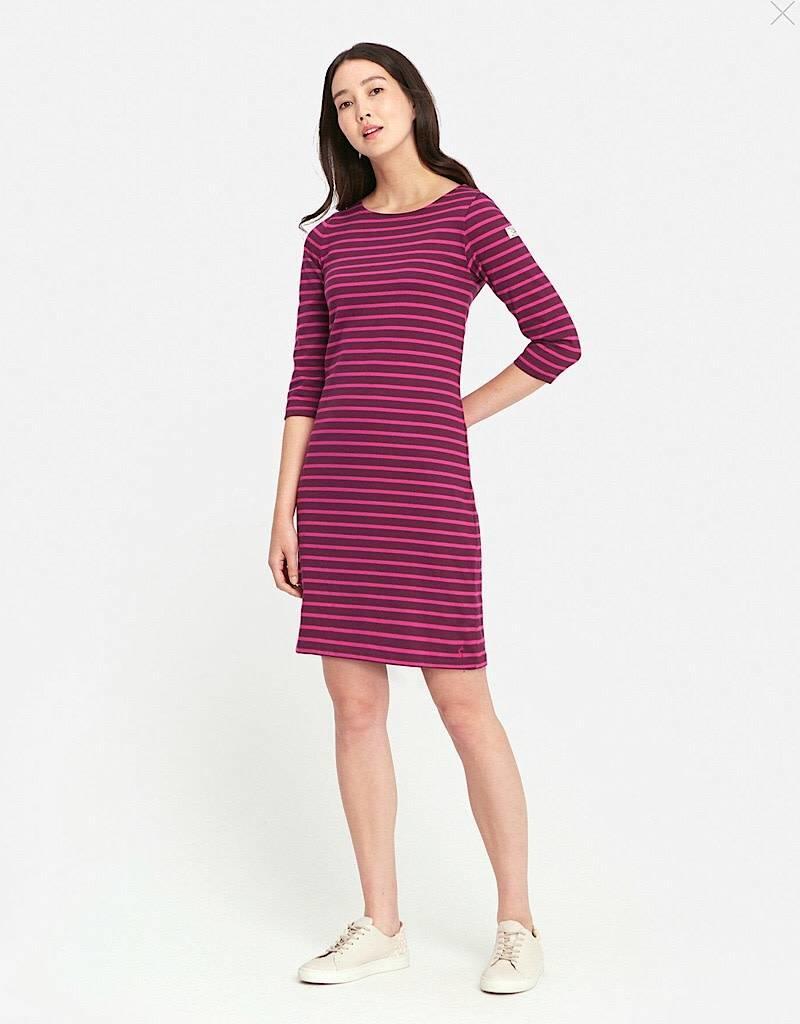 Joules Joules Riviera Jersey Dress Plum Stripe FINAL SALE