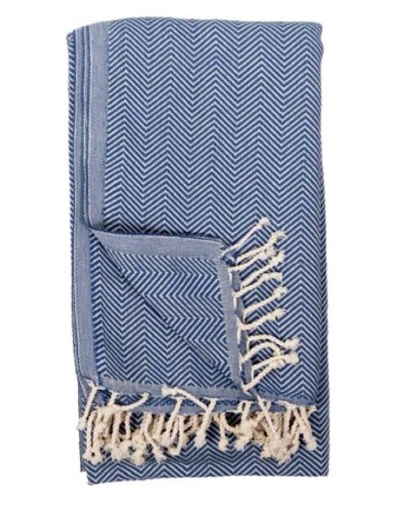 TTHE4 Turkish Towel  Herringbone Azul