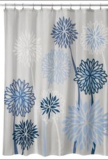 71920 Shower Curtain Zinnia Floral SC Gray Blue