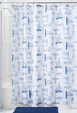 Inter Design 67720 Shower Curtain Sailboat SC White Navy