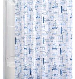 Shower Curtain Sailboat White Navy