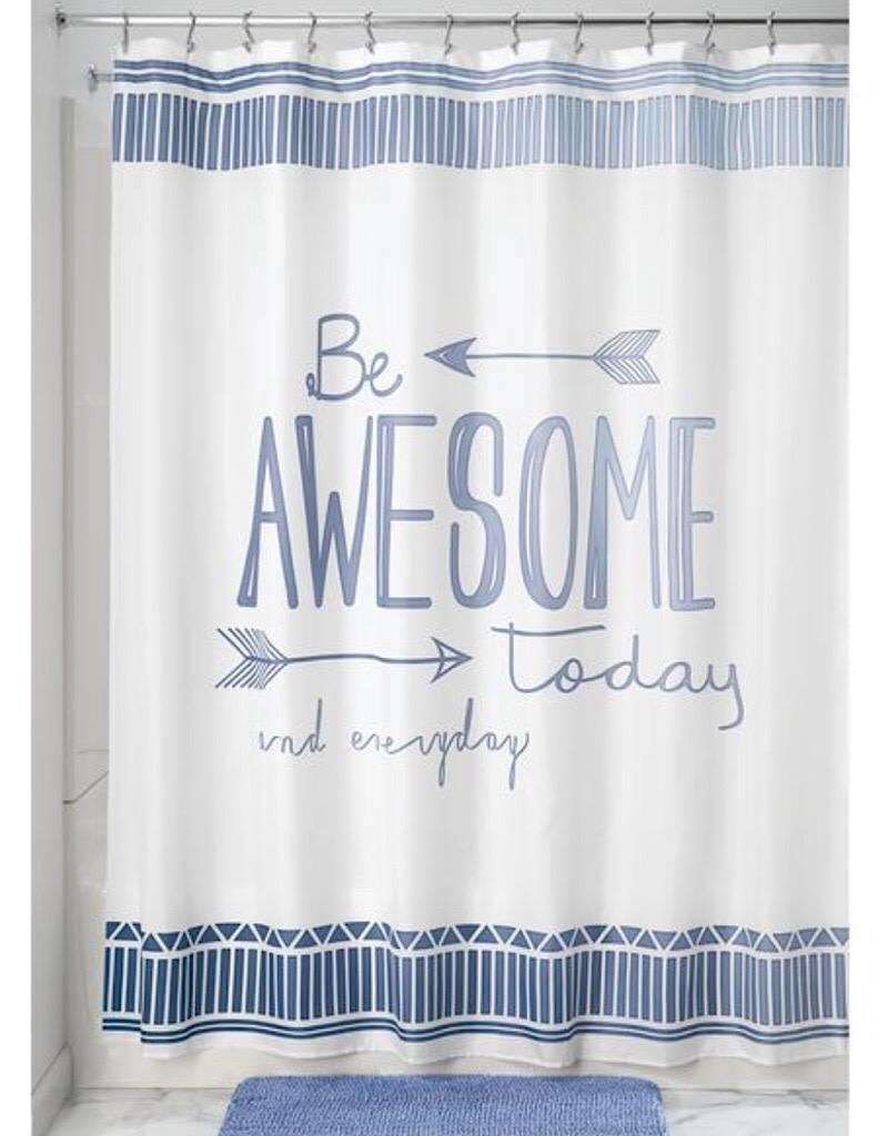 65820 Shower Curtain Be Awesome SC Blue