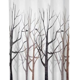 Shower Curtain Forest Gray Black