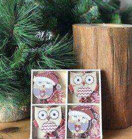 A29121 Set 12 Painted Wood Owl