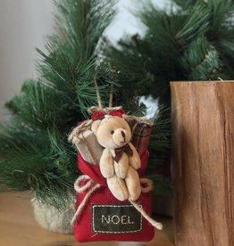 Christmas  Bear Santa Bag Ornament