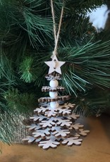 A24528 Tiered White Snowflake Tree with Star