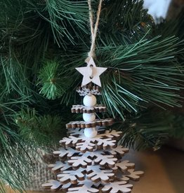 Tiered White Snowflake Tree with Star Ornament