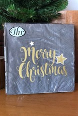 L796245 Shiny Merry Christmas Grey Napkin