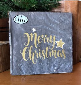 Shiny Merry Christmas Grey Napkin