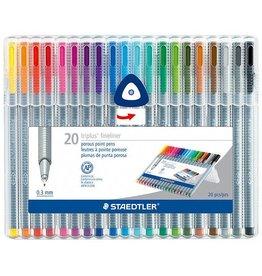 Staedtler Fiber Tip 1.0mm Pen Set Of 20 Triangular Barrels  Dry Safe