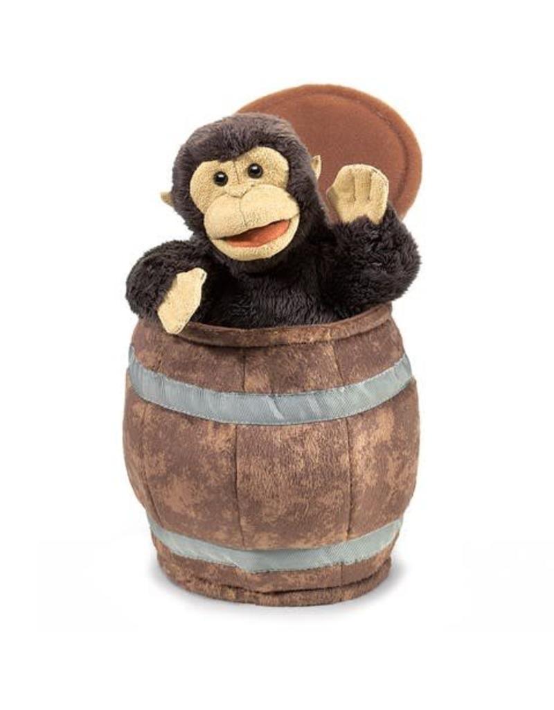 Folkmanis Monkey in a Barrel Puppet
