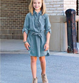 Ruffle Butts Ruffle Butts Light Wash Denim Shirt Dress