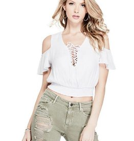 Guess Guess Womens Eloise Cold Shoulder Top