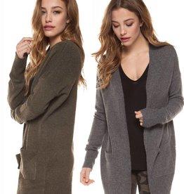 DEX Dex Open Sweater Cargidan W/ Patch Pockets