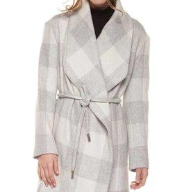 DEX Dex Shawl Collar Plaid Coat