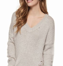 DEX Dex V-Neck Sweater W/Lace-Up Eyelets
