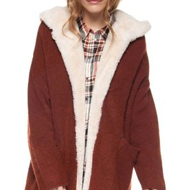 DEX Dex Hooded Cardigan W/Sherpa Facing