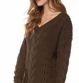 DEX Dex V-Neck Cable Knit W/Lace-Up Detail