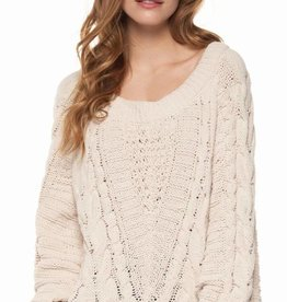 DEX Dex Wide Crew Neck Cable Knit Sweater