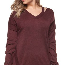 DEX Dex Plus Cold Shoulder V-Neck Sweater