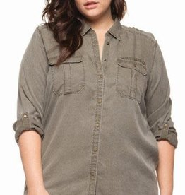 DEX Dex Plus Roll-Up Slv Two Pkts Blouse