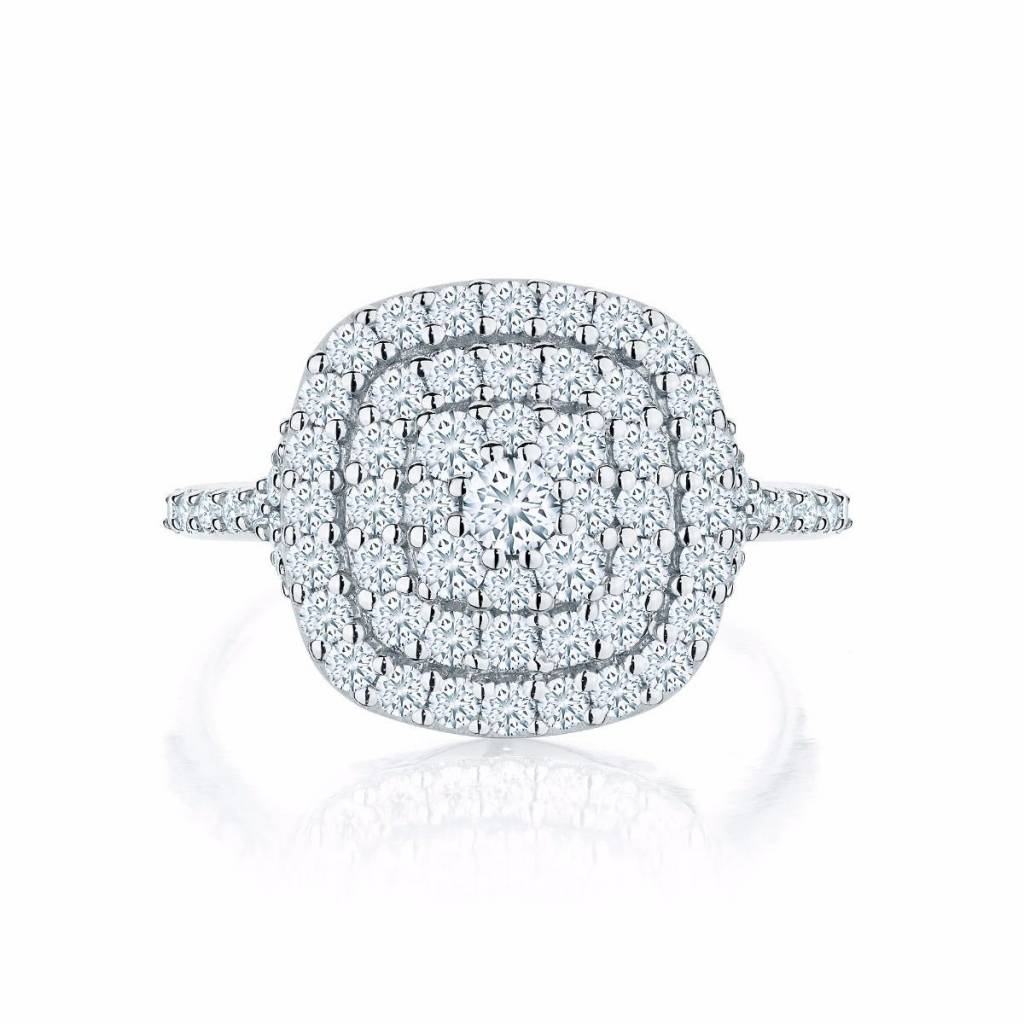 diamond forevermark halo cascade in ring white tw gold