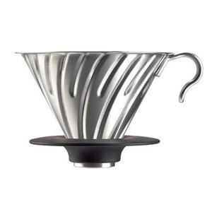 Hario Hario V60 Coffee Dripper, Stainless, 02