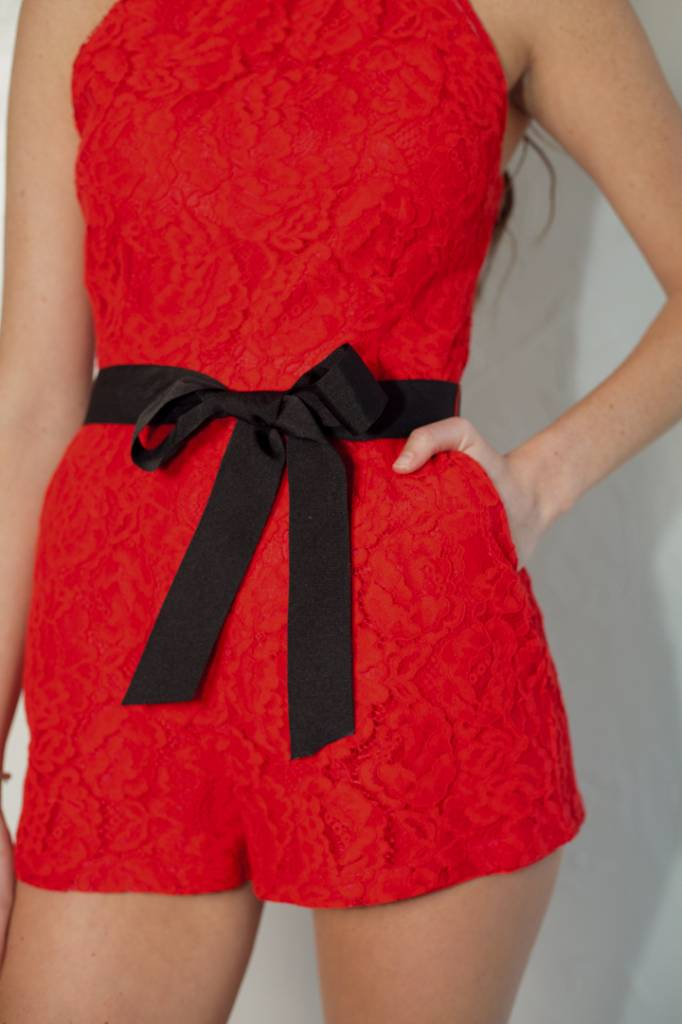 NEVE RED LACE ROMPER