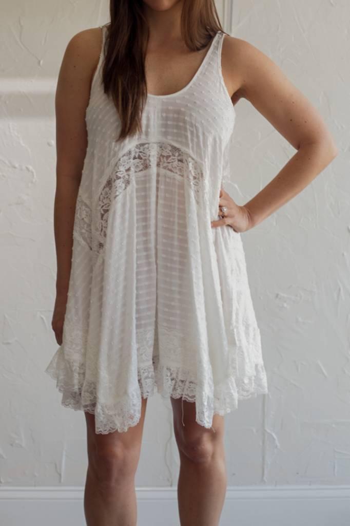 WHITE LACE AND DOT DRESS