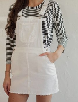 WHITE DENIM SKIRT OVERALLS