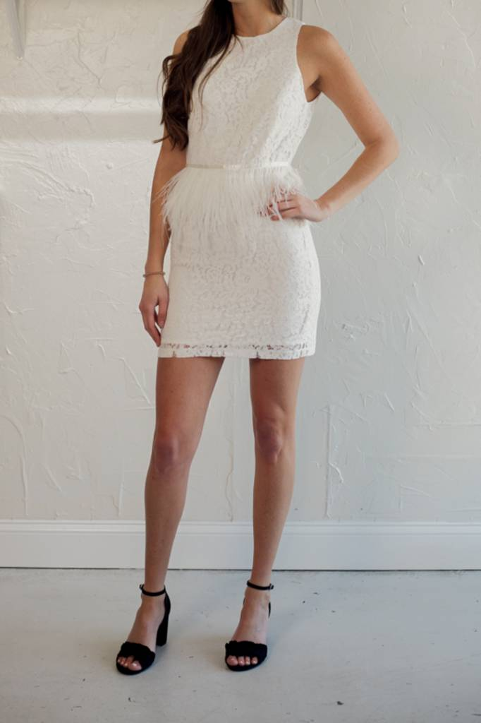 WHITE LACE FEATHER DRESS