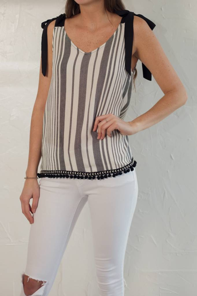 BLACK AND WHITE STRIPE TOP WITH POM POM