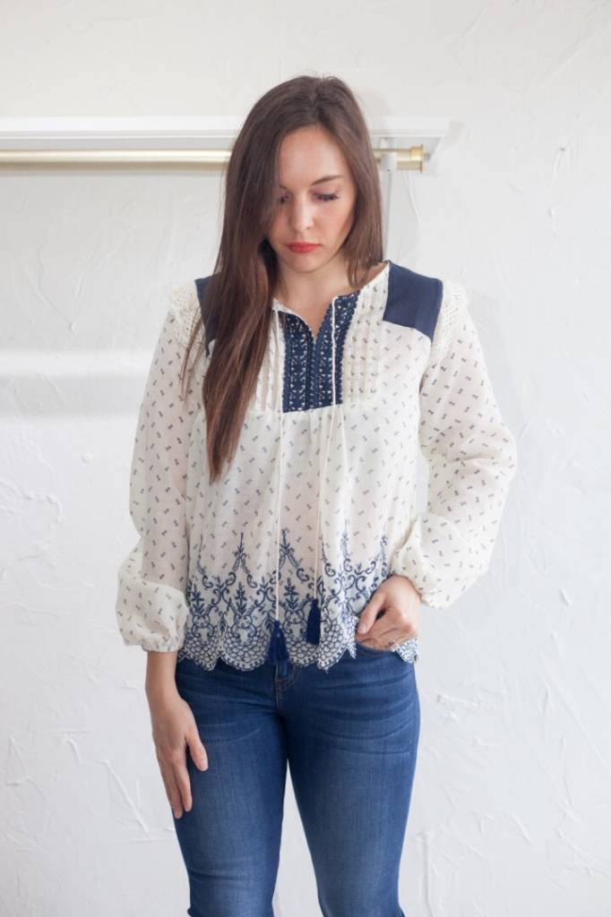 SCALLOPED EMBROIDERY PEASANT TOP