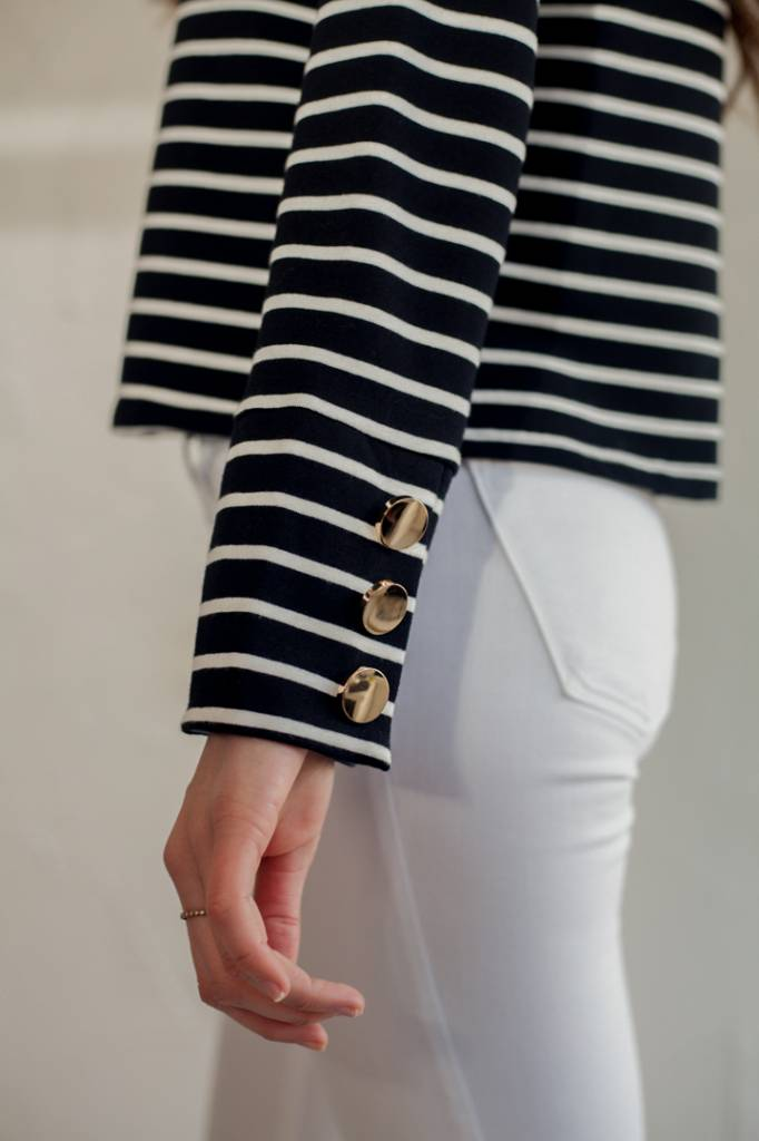 RUFFLE SAILOR TOP WITH GOLD BUTTONS