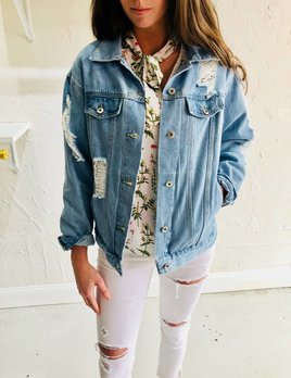BOYFRIEND DISTRESSED BLUE JEAN JACKET