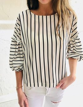 BLACK STRIPE BALOON SLEEVE TOP