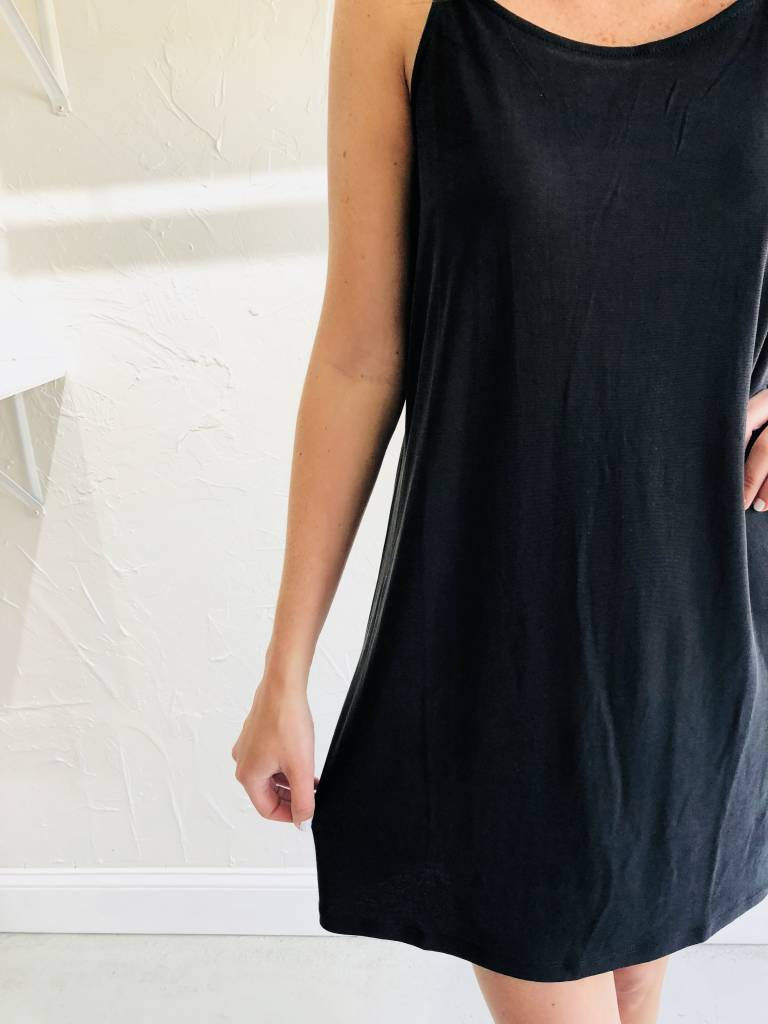 BLACK SPAG STRAP DRESS