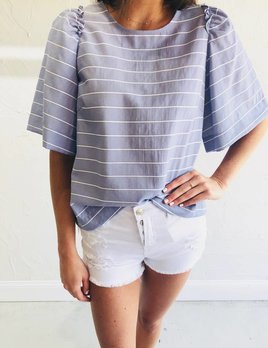FRNCH CELEMENCE RUFFLE STRIPE TOP