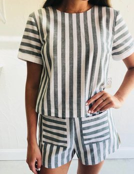 STRIPE SHIRT WITH BOW BACK