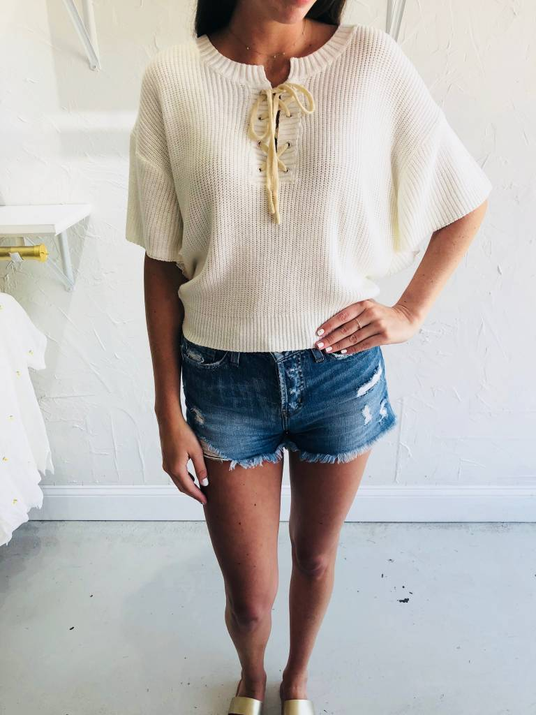 Moon River CREAM KNIT LACE UP TOP