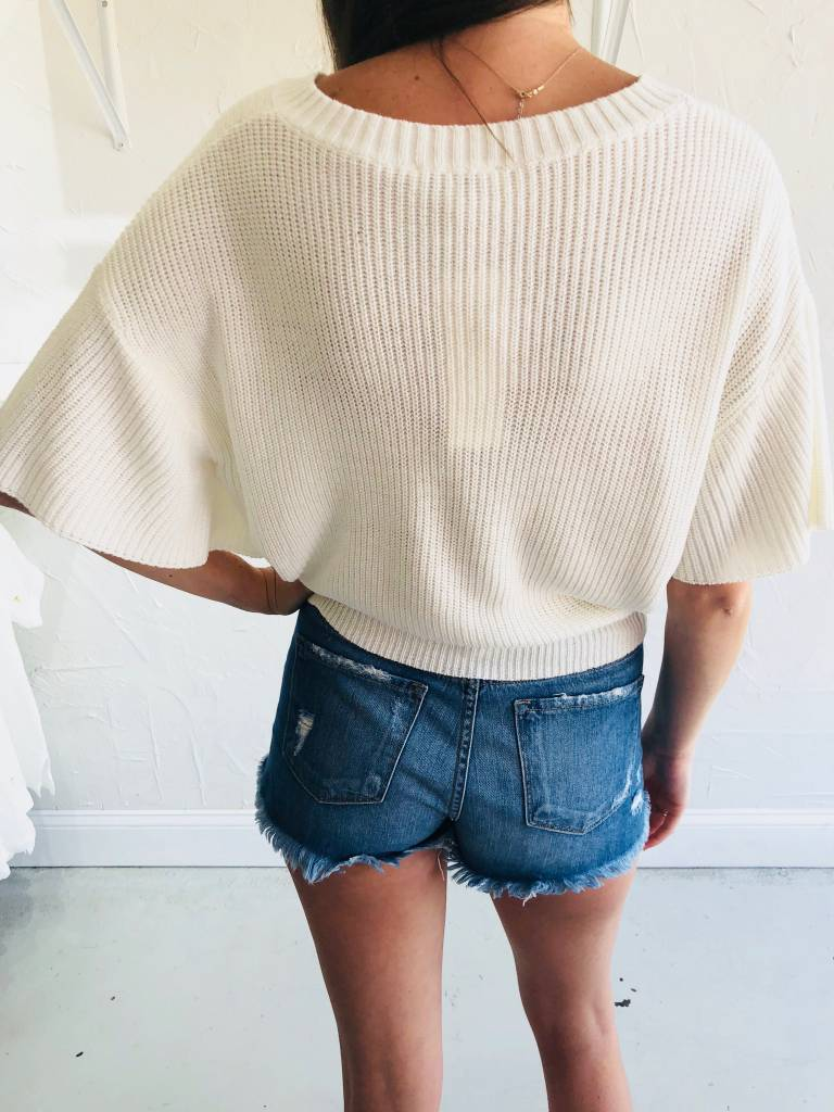CREAM KNIT LACE UP TOP