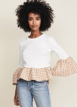GINGHAM TRUMPET SLEEVE TOP