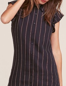 NAVY STRIPED SHIRT DRESS