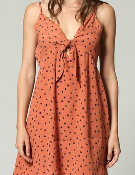 RUST BOW DOT DRESS