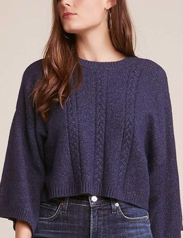 DARK BLUE MOCK NECK SWEATER