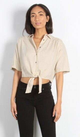 Mod Ref THE MANDY KHAKI TIE TOP