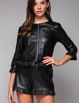 RUFFLE LEATHER JACKET