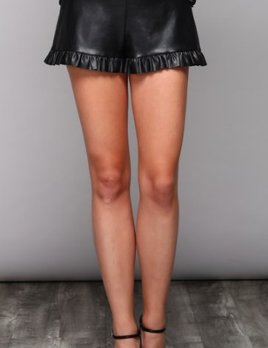 LEATHER RUFFLE SHORTS